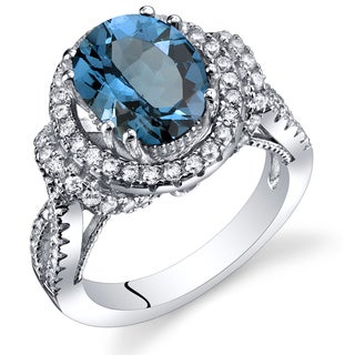 Oravo Sterling Silver 3.25-carat London Blue Topaz Gallery Ring