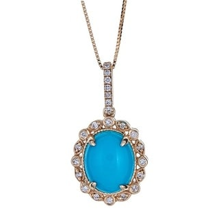 Anika and August 10k Yellow Gold 1/8ct TDW Diamond and Turquoise Pendant