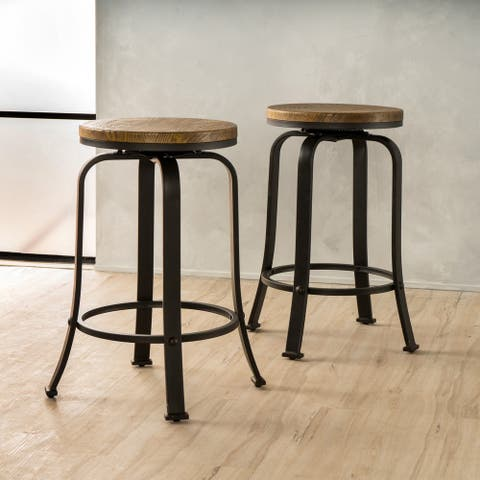 Skyla 24-inch Natural Wood Roating Counter Stool (Set of 2) by Christopher Knight Home