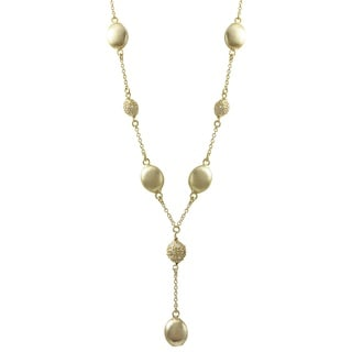 Luxiro Brushed Gold Finish Coins Pave Cubic Zirconia Y Necklace