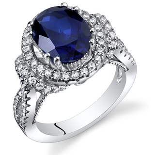 Oravo Sterling Silver 3.75-carat Created Sapphire Gallery Ring