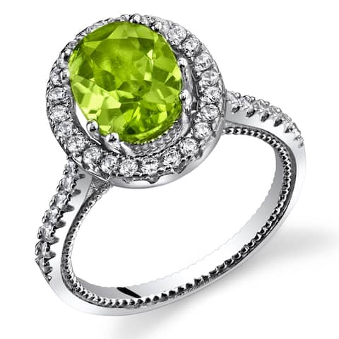 Oravo Women's Sterling Silver 2-carat Peridot Halo Milgrain Ring