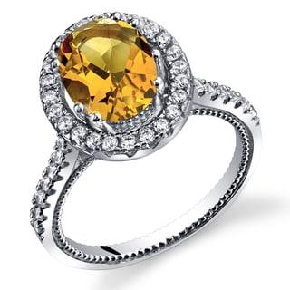 Oravo Women's Sterling Silver 1.75-carat Citrine Halo Milgrain Ring