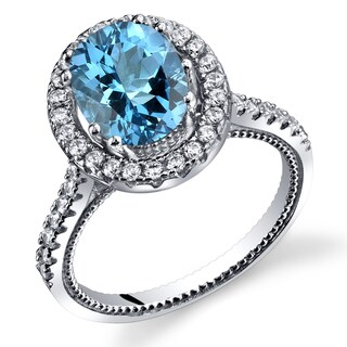 Oravo Sterling Silver Swiss Blue Topaz Halo Milgrain Ring