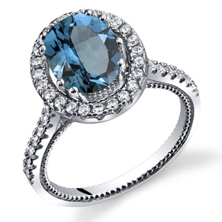Oravo Sterling Silver 2.25-carats London Blue Topaz Halo Milgrain Ring
