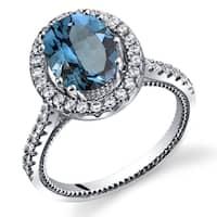Oravo Sterling Silver 2.25-carats London Blue Topaz Halo Milgrain Ring