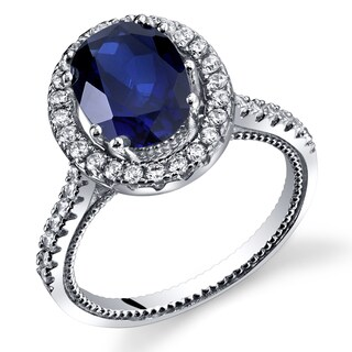 Oravo Sterling Silver 2.75-carat Created Sapphire Halo Milgrain Ring