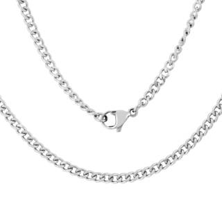 Men's Stainless Steel 3mm 20-inch Curb Chain - Silver