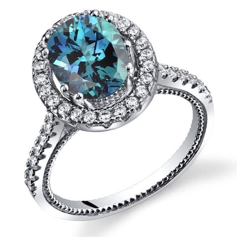 Oravo Rhodium-finished Sterling Silver Simulated Alexandrite Cubic Zirconia Halo Milgrain Ring