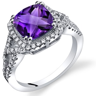 Oravo Sterling Silver 2-carat Amethyst Checkerboard Ring