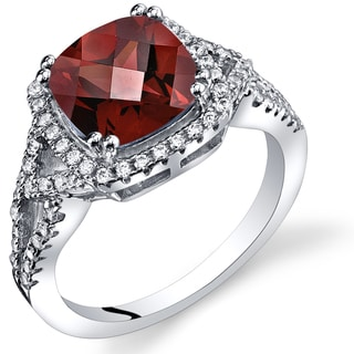 Oravo Women's Sterling Silver 2.50-carat Garnet Checkerboard Ring