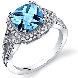 Oravo Women's Rhodium-plated .925 Sterling Silver and 2.25-carat Swiss Blue Topaz Checkerboard Ring