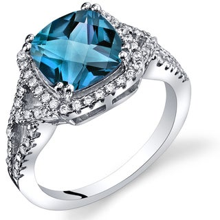 Oravo Sterling Silver 2.75-carat London Blue Topaz Checkerboard Ring