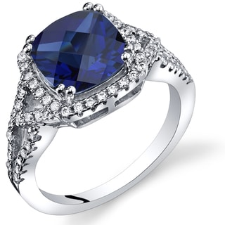 Oravo 3ct Created Sapphire Sterling Silver Checkerboard Ring