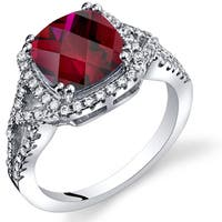 Oravo Sterling Silver 3-carat Created Ruby Checkerboard Ring