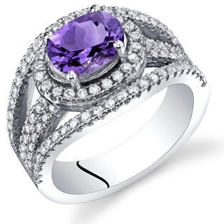 Oravo 1ct Amethyst Sterling Silver Lateral Halo Ring
