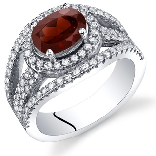 Oravo Sterling Silver 1.5-carat Garnet Lateral Halo Ring