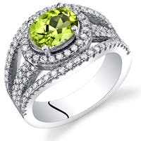 Oravo Sterling Silver 1.25-carat Peridot Lateral Halo Ring
