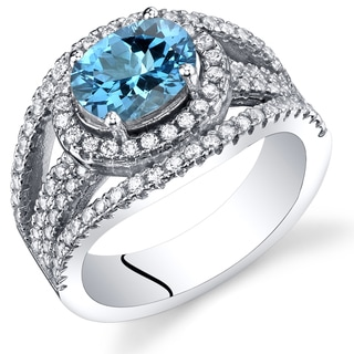 Oravo Women's Sterling Silver 1.50-carats Swiss Blue Topaz Lateral Halo Ring