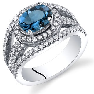 Oravo Sterling Silver 1.50 carats London Blue Topaz Lateral Halo Ring