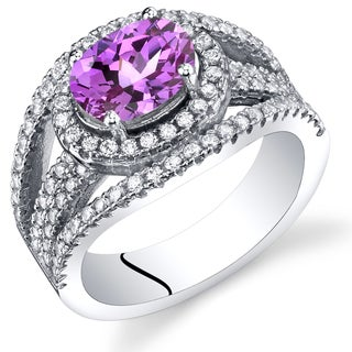 Oravo Women's Rhodium-plated Sterling Silver, 1.75-carat Fuchsia Created Sapphire, and White Cubic Zirconia Lateral Halo Ring