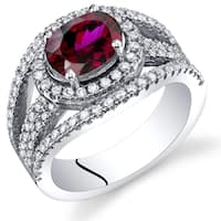 Oravo Women's Sterling Silver 1.75-carat Created Ruby Lateral Halo Ring