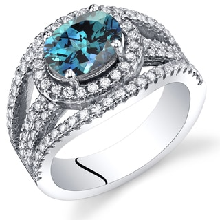 Oravo Sterling Silver 1.75-carat Simulated Alexandrite Lateral Halo Ring