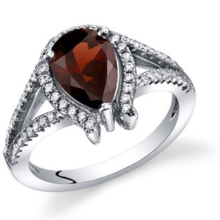 Oravo Sterling Silver Garnet Tear Drop Ring