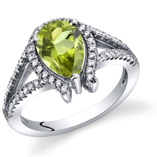 Oravo Women's Sterling Silver 1.25-carat Peridot Tear Drop Ring