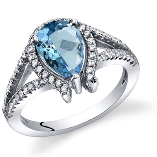 Oravo Sterling Silver 1.50 Carats London Blue Topaz Tear Drop Ring