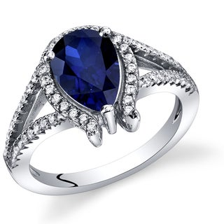 Oravo Women's Sterling Silver 1.75-carat Created Sapphire Tear Drop Ring