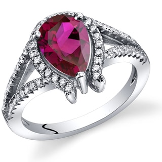 Oravo Sterling Silver Ruby Tear Drop Ring