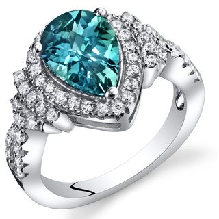 Oravo Sterling Silver 2.5-carat Simulated Alexandrite Teardrop Checkerboard Ring