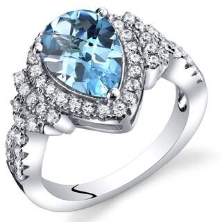 Oravo Women's Sterling Silver 2-carat Swiss Blue Topaz Tear Drop Checkerboard Ring