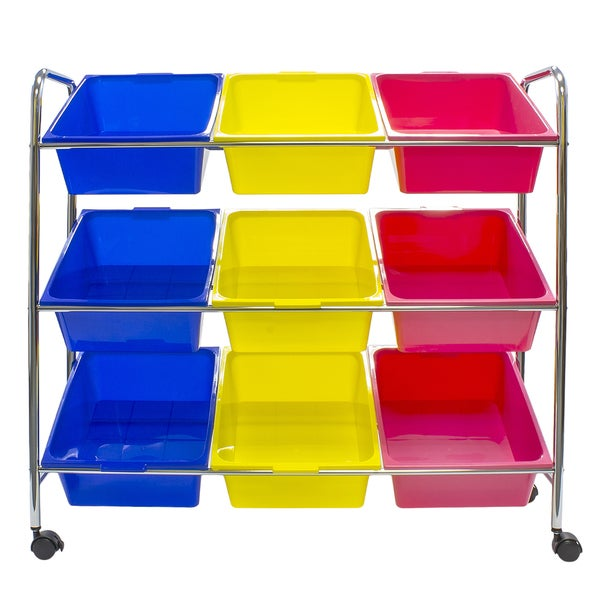 Sorbus Primary Color Toy Bins & Office Supply Organizer on Wheels