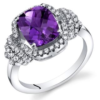 Oravo Sterling Silver 1.75-carats Amethyst Cushion-cut Ring