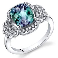 Oravo Sterling Silver 2.75-carat Simulated Alexandrite Cushion-cut Ring
