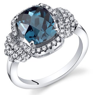 Oravo Sterling Silver 2.25-carat London Blue Topaz Cushion-cut Ring