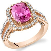 Oravo Rose Gold Sterling Silver 2 3/4ct Created Saphire Halo Ring