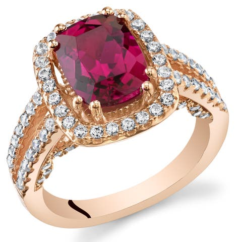 Oravo Rose Gold Sterling Silver 2 3/4ct Created Ruby Halo Ring
