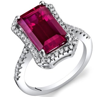 Oravo Sterling Silver 4.25 carats Created Ruby Octagon Ring
