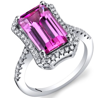 Oravo Sterling Silver Created Pink Sapphire Octagon Ring