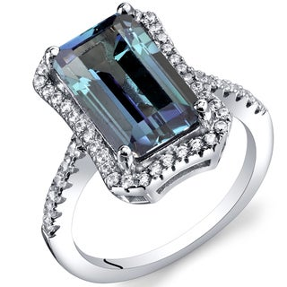 Oravo Sterling Silver Simulated Alexandrite Cubic Zirconia Octagon Ring
