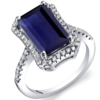 Oravo Sterling Silver 4.50-carat Created Sapphire Octagon Ring