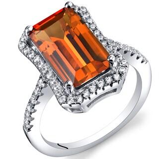 Oravo Created Padparascha 4 1/4ct Sapphire Octagon Ring
