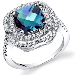 Oravo Women's Sterling Silver 3-carat Simulated Alexandrite Cocktail Ring