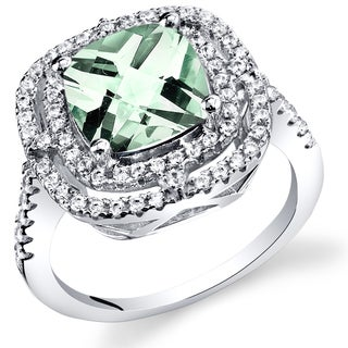 Oravo Women's Sterling Silver 2-carat Green Amethyst Cocktail Ring