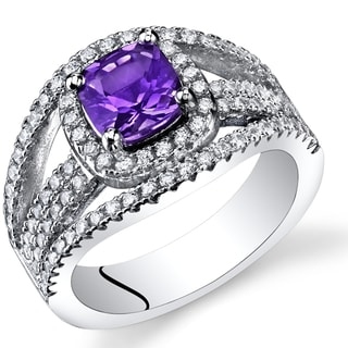 Oravo Women's Sterling Silver 0.75-carat Cushion-cut Amethyst Pave Ring
