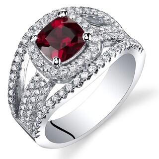 Oravo Sterling Silver 1-carat Garnet Pave Ring