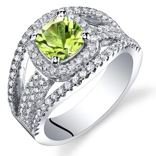 Oravo Sterling Silver 1.00 carats Peridot Pave Ring
